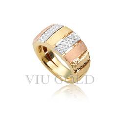 Anel linha comfort em ouro 18k amarelo, branco, Rose com detalhe fosco... - VIU GOLD