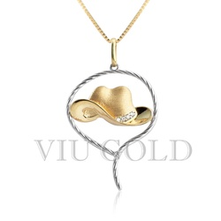 Pingente de Chapéu em ouro 18K amarelo e branco com 4 Diamante Sintéti... - VIU GOLD