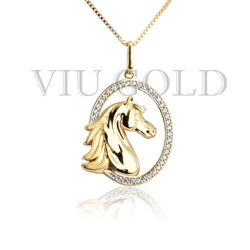 Pingente de Cavalo em ouro 18k amarelo com 35 Diamante Sintético - P-0... - VIU GOLD