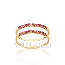 Aparador em ouro 18K amarelo com Rubi sintético - AP-010 - VIU GOLD