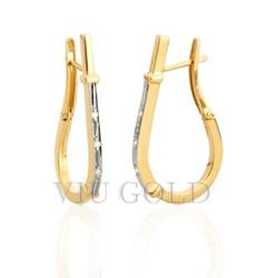Brinco Anzol pequeno com Diamantes em ouro 18k amarelo e branco - B-00 - VIU GOLD