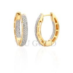 Brinco de argola oval em ouro 18k amarelo e branco com Diamantes - B-0... - VIU GOLD