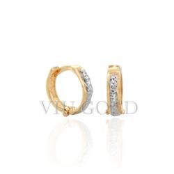 Brinco argola de trava em ouro 18k amarelo e branco - B-034 - VIU GOLD
