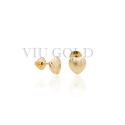 Brinco de coração trabalhado em ouro 18k amarelo - BI-017 - VIU GOLD