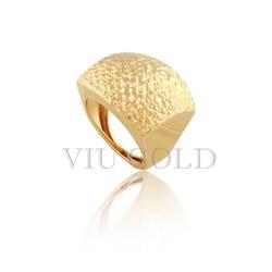 Anel quadrado todo trabalhado em ouro 18k amarelo - AN-061 - VIU GOLD