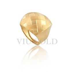 Anel todo trabalhado com fosco e polido em ouro 18k amarelo - AN-062 - VIU GOLD