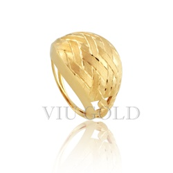 Anel trabalhado com fosco e polido em ouro 18k amarelo - AN-064 - VIU GOLD