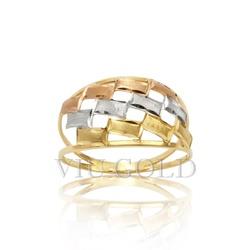 Anel com aro duplo em ouro 18k amarelo, branco, e rose - AN-006 - VIU GOLD