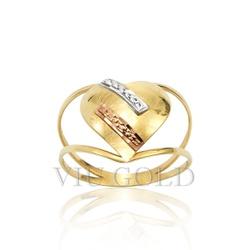 Anel aro duplo de coração em ouro 18k amarelo, branco, e rose - AN-017... - VIU GOLD