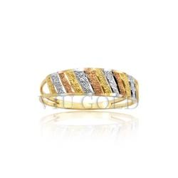 Anel aro duplo trabalhado na diagonal em ouro 18k amarelo, branco e ro... - VIU GOLD