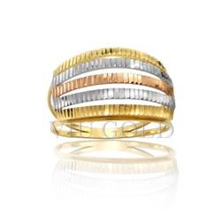 Anel aro duplo com filetes na horizontal em ouro 18k amarelo, branco, ... - VIU GOLD
