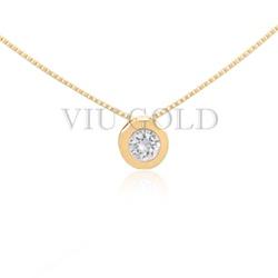 Gargantilha em ouro 18K amarelo com ponto de luz em Diamante Sintético... - VIU GOLD