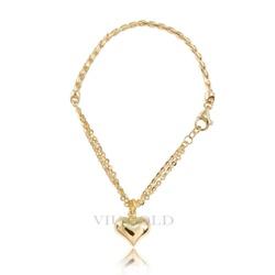 Pulseira em ouro 18K com Elo trigo, fios duplos e coração - pu-005 - VIU GOLD