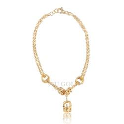Pulseira em ouro 18K com fios duplos, argolas e coroa - PU-001 - VIU GOLD