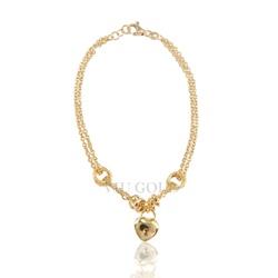 Pulseira em ouro 18K com fios duplos, argolas e coração - PU-003 - VIU GOLD