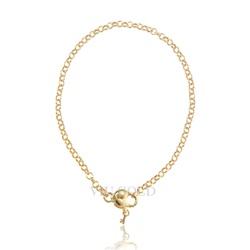 Pulseira elo português em ouro 18K com coração e chave - PU-004 - VIU GOLD