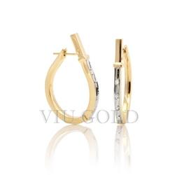 Brinco Anzol grande com Diamantes em ouro 18k amarelo e branco - B-001 - VIU GOLD
