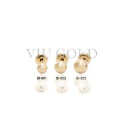 Brinco bola em ouro 18k amarelo de 4.0 mm com tarracha baby - BI-003 - VIU GOLD