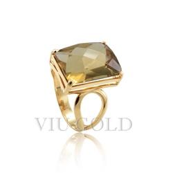 Anel em ouro 18K amarelo com Citrino retângulo - AN-092 - VIU GOLD