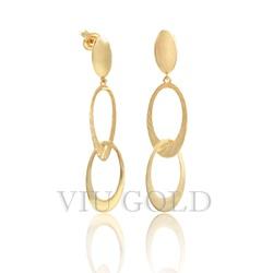 Brinco Argolas penduradas em ouro 18K amarelo - B-079 - VIU GOLD