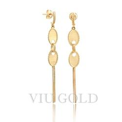 Brinco em ouro 18K amarelo com correntes venezianas penduradas - B-077 - VIU GOLD
