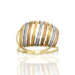 Anel aro duplo com filetes na diagonal em ouro 18k amarelo, branco, e ... - VIU GOLD