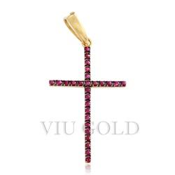 Pingente cruz em ouro 18K com Rubi - P-002 - VIU GOLD