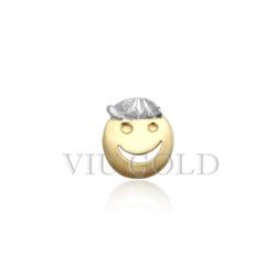 Pingente de carinha menino em ouro 18K amarelo, branco - P-013 - VIU GOLD