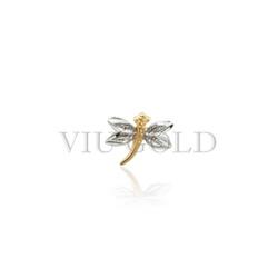 Pingente Libelula em ouro 18K amarelo, branco - P-014 - VIU GOLD