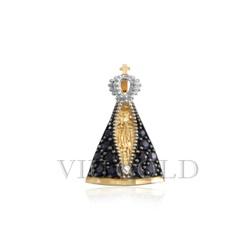 Pingente de Nossa Senhora Aparecida em ouro 18k com Safira Azul - P-01 - VIU GOLD