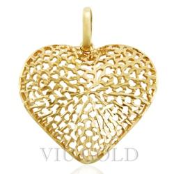 Pingente de coração em ouro 18k amarelo todo trabalhado - P-038 - VIU GOLD