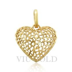 Pingente de coração em ouro 18k amarelo todo trabalhado - P-039 - VIU GOLD