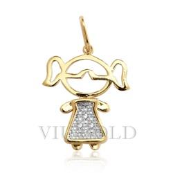 Pingente de Menina em ouro 18k amarelo, branco com Diamantes - P-046 - VIU GOLD