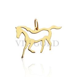 Pingente de cavalo em ouro 18k amarelo laser - P-048 - VIU GOLD