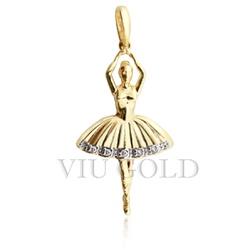 Pingente Bailarina em ouro 18k amarelo com Diamantes - P-051 - VIU GOLD