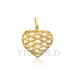 Pingente de coração em ouro 18k amarelo todo trabalhado - P-035 - VIU GOLD