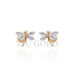 Brinco de Libélula em ouro 18k amarelo e branco - B-008 - VIU GOLD