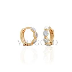 Brinco argola de trava em ouro 18k amarelo e branco - B-011 - VIU GOLD