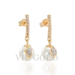 Brinco em ouro 18k amarelo e branco pendurado com Pérola Shell - B-038 - VIU GOLD