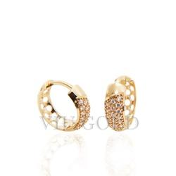 Brinco argola de trava em ouro 18k amarelo com Diamante sintético - B-... - VIU GOLD