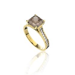 Anel em Ouro 18K Amarelo com Quartzo Fumê e Diamantes (Veja o vídeo) -... - VIU GOLD