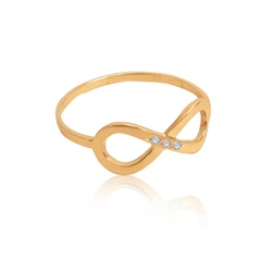 Anel em Ouro 18k amarelo símbolo Infinito com 3 diamantes sintéticos ... - VIU GOLD