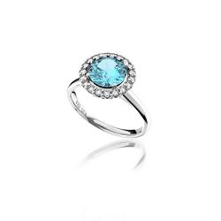 Anel em Ouro 18K Branco com Topázio azul e Diamantes (Veja o vídeo) - ... - VIU GOLD