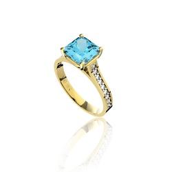 Anel em Ouro 18K Amarelo com Topázio azul e Diamantes (Veja o Vídeo) -... - VIU GOLD