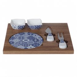 Tábua de Bambu com Acessórios em Cerâmica - Astuti Casa