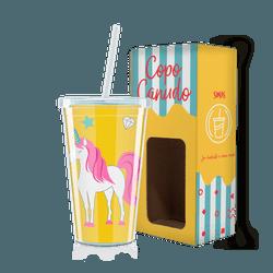 Copo Canudo - Unicórnio Amarelo - 12283 - Bellas Cestas Online Salvador