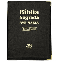 Bíblia Letra Grande Ave Maria Capa Preta - 7456 - Betânia Loja Católica