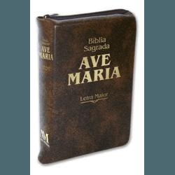 Bíblia Ave Maria com zíper marrom- Letra Maior - ... - Betânia Loja Católica