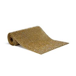 Tira De Strass Dourada e Pedra Cristal - 45x10cm -... - BMSTRASS
