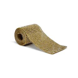 Tira De Strass Dourada e Pedra Cristal - 45x05cm -... - BMSTRASS